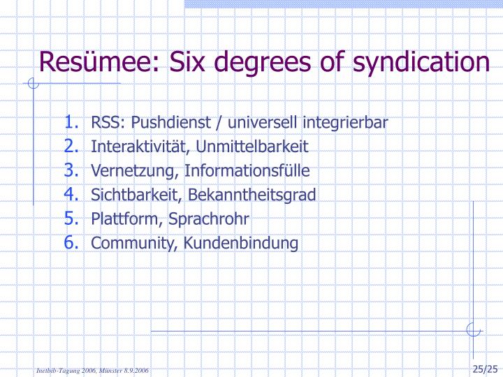 Resümee: Six degrees of syndication