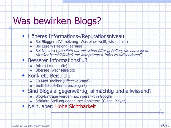 Was bewirken Blogs?