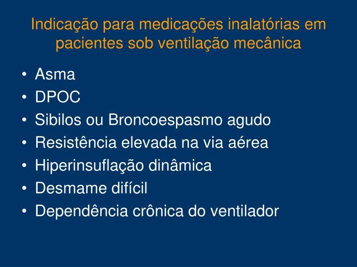 Indicação para medicações inalatórias em pacientes sob ventilação mecânica