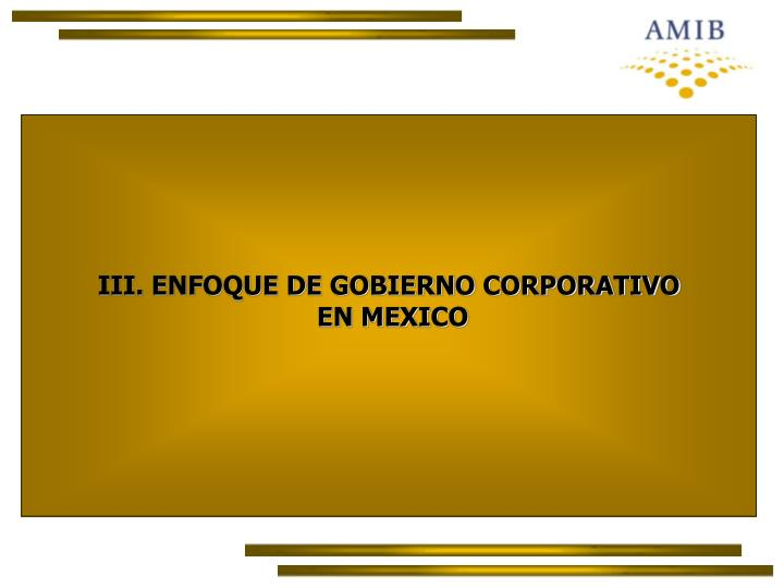 III. ENFOQUE DE GOBIERNO CORPORATIVO