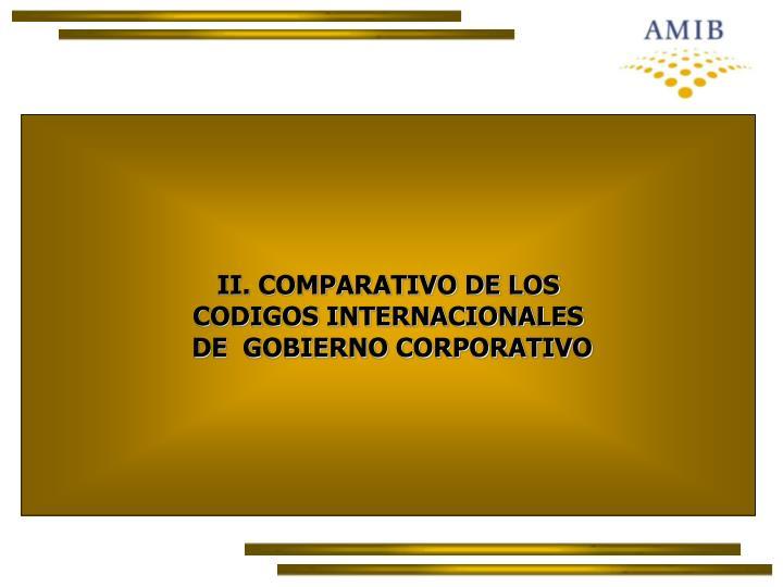 II. COMPARATIVO DE LOS