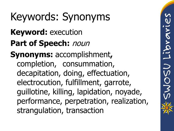 Keywords: Synonyms