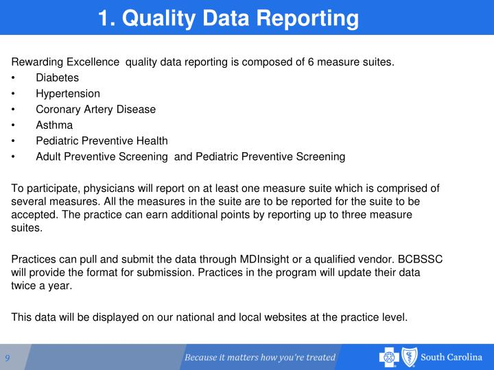 1. Quality Data Reporting