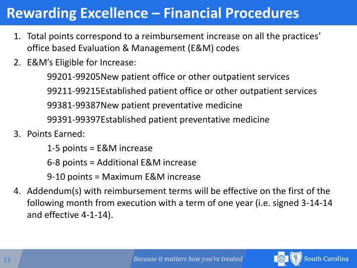 Rewarding Excellence – Financial Procedures