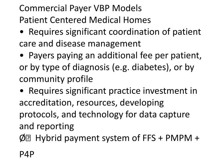 Commercial Payer VBP Models