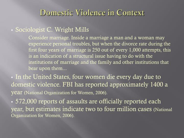 Domestic violence in context