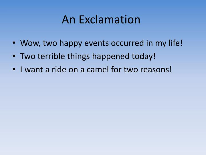 An Exclamation