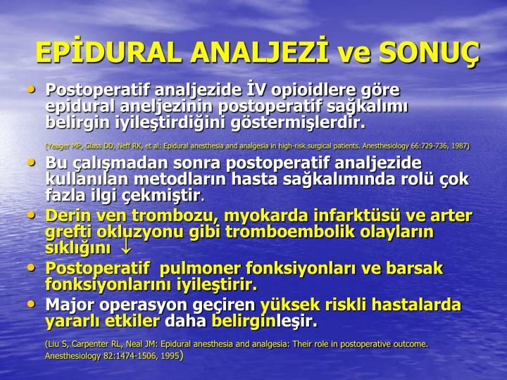 EPİDURAL ANALJEZİ ve SONUÇ