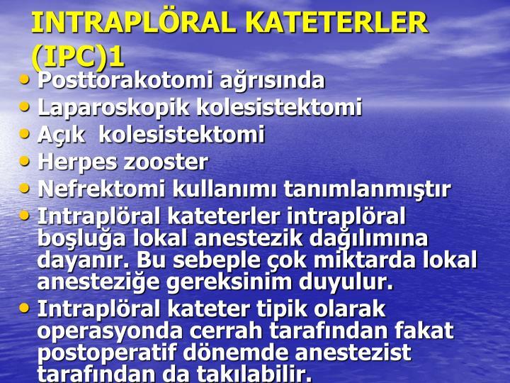 INTRAPLÖRAL KATETERLER  (IPC)1