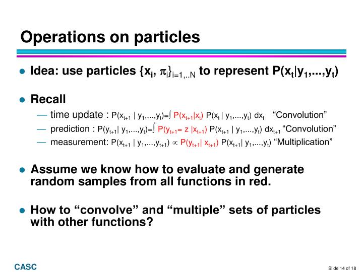 Operations on particles