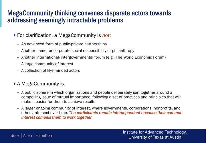 MegaCommunity thinking convenes disparate actors towards addressing seemingly intractable problems