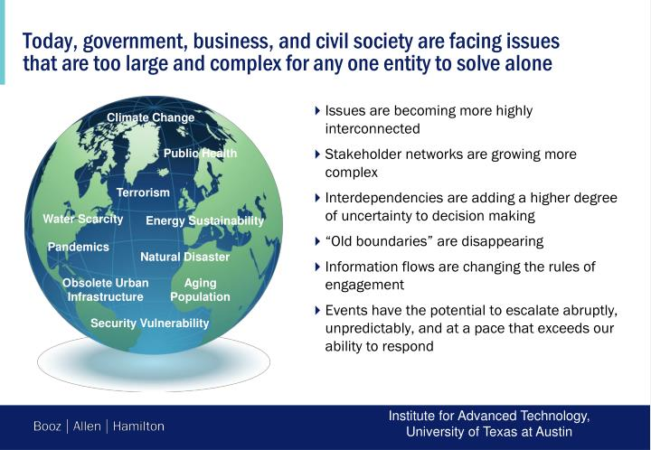 Today, government, business, and civil society are facing issues that are too large and complex for any one entity to solve alone