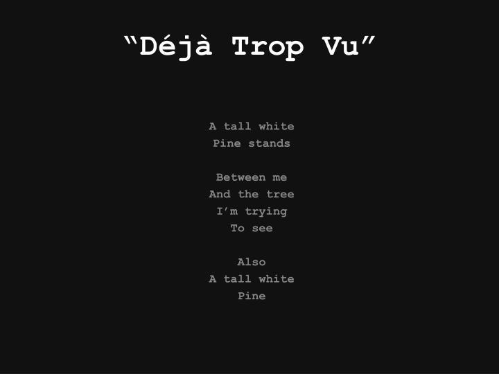 """""""Déjà Trop Vu"""""""
