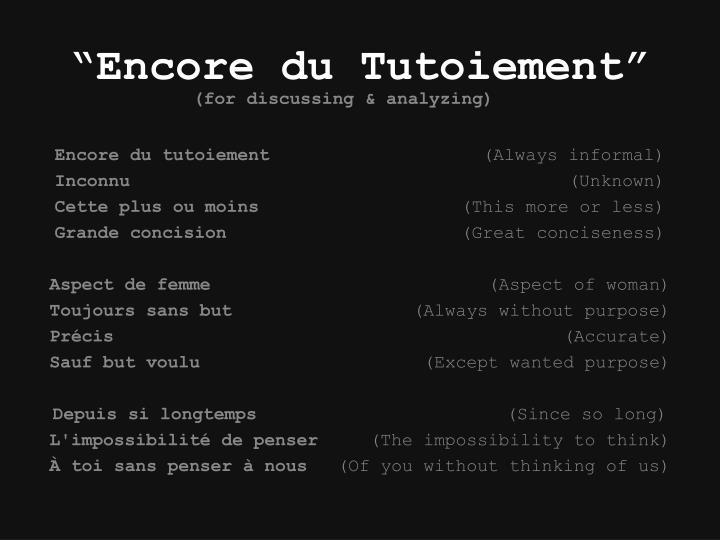 """""""Encore du Tutoiement"""""""