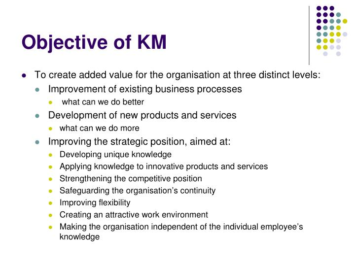 Objective of KM