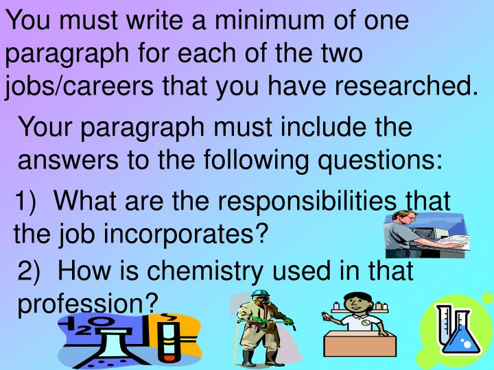 You must write a minimum of one paragraph for each of the two jobs/careers that you have researched.