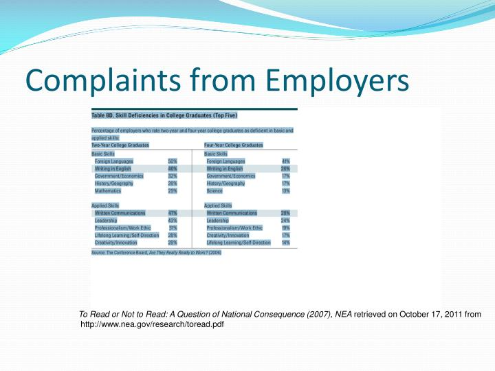 Complaints from Employers