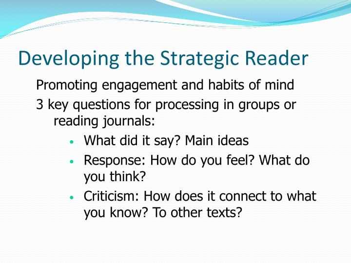 Developing the Strategic Reader