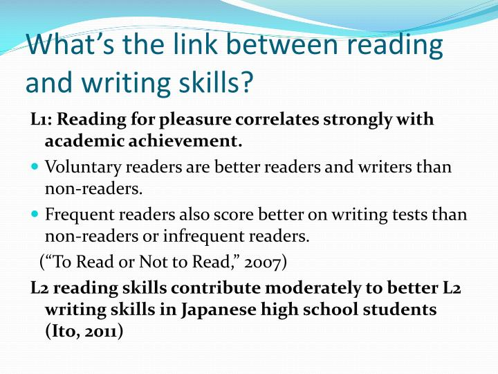 What's the link between reading and writing skills?