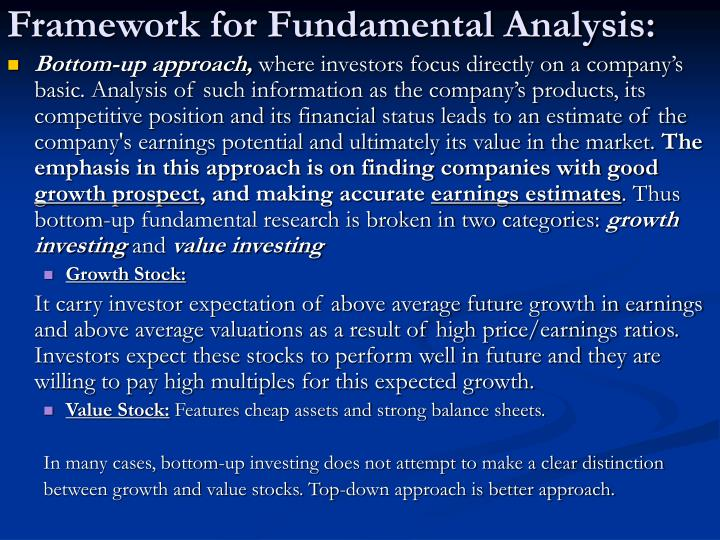 Framework for Fundamental Analysis: