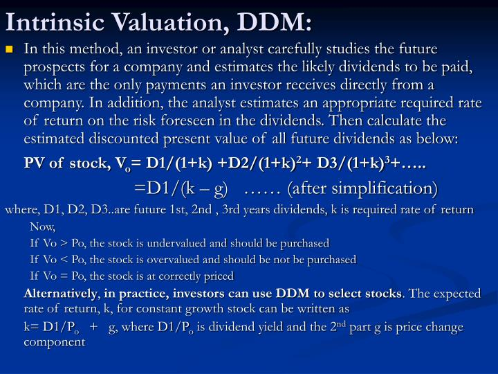 Intrinsic Valuation, DDM: