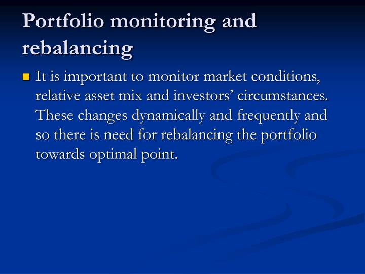 Portfolio monitoring and rebalancing