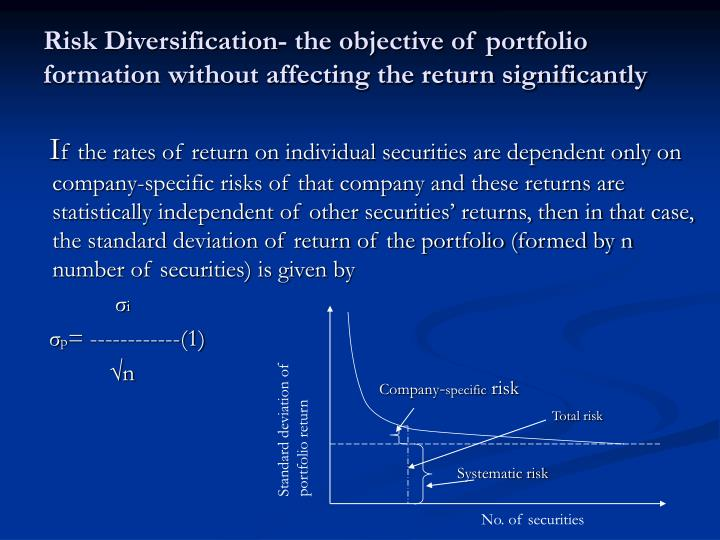 Risk Diversification- the objective of portfolio formation without affecting the return significantly