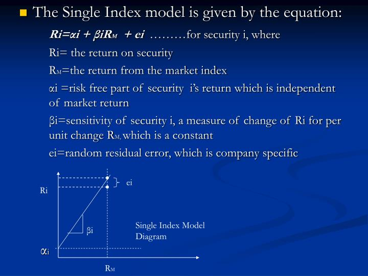 The Single Index model is given by the equation: