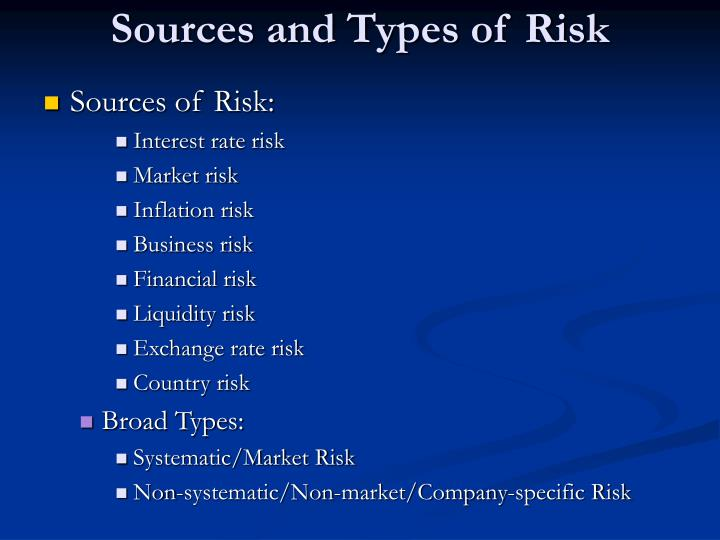Sources and Types of Risk