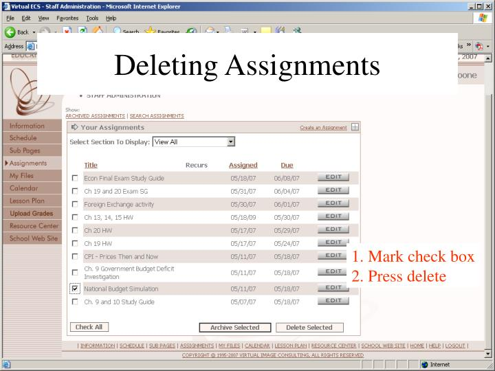 Deleting Assignments