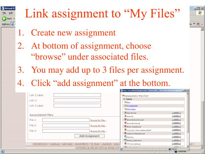"Link assignment to ""My Files"""