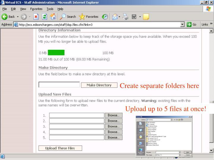 Create separate folders here