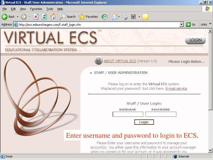 Enter username and password to login to ECS