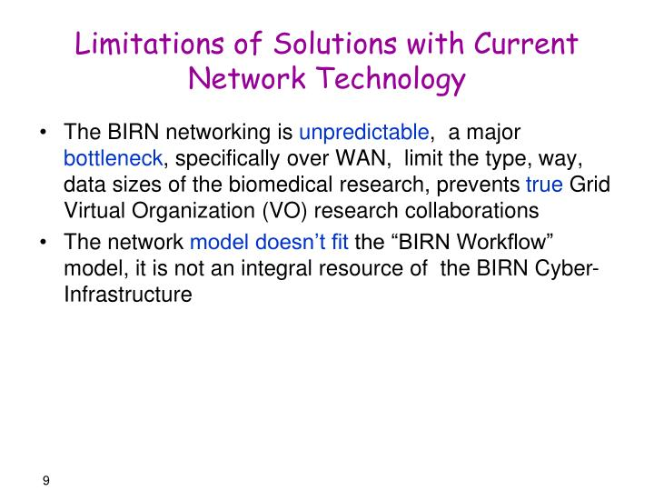 Limitations of Solutions with Current Network Technology