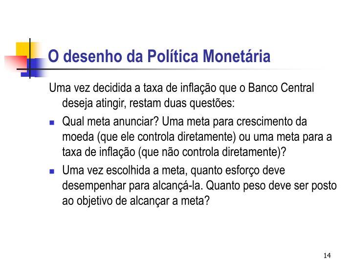 O desenho da Política Monetária