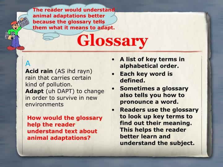A list of key terms in alphabetical order.