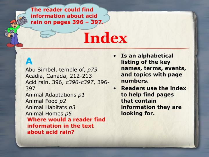 Is an alphabetical listing of the key names, terms, events, and topics with page numbers.
