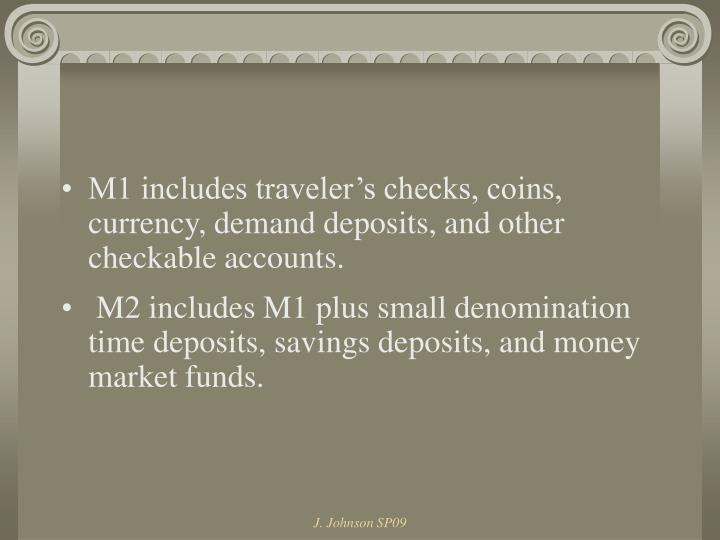 M1 includes traveler's checks, coins, currency, demand deposits, and other checkable accounts.