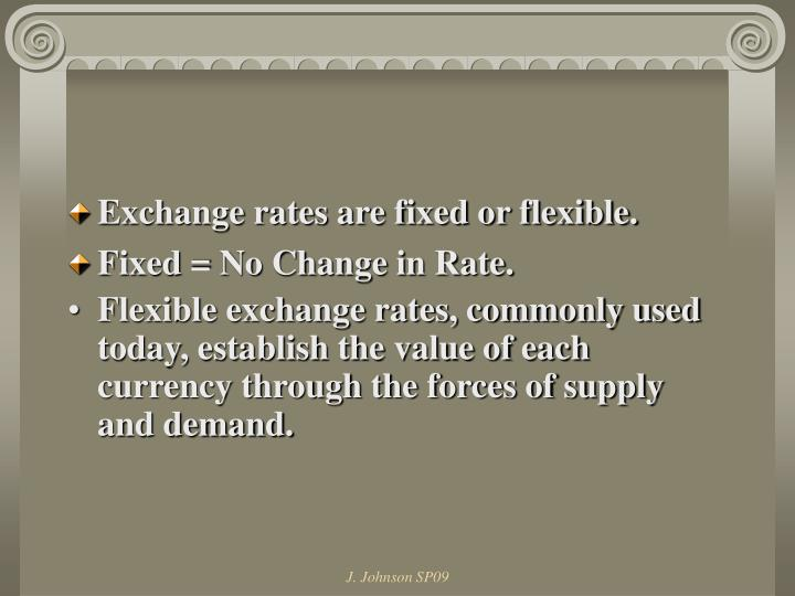 Exchange rates are fixed or flexible.