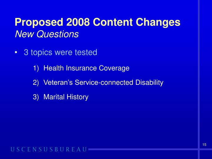 Proposed 2008 Content Changes
