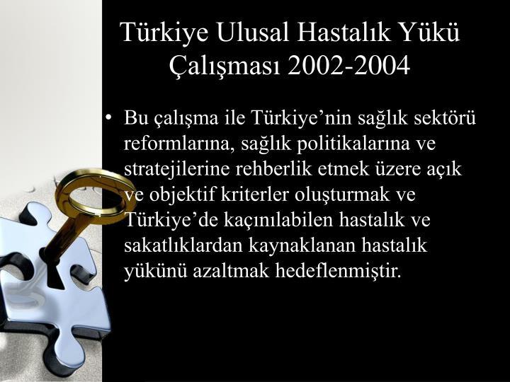 Türkiye Ulusal Hastalık Yükü Çalışması 2002-2004