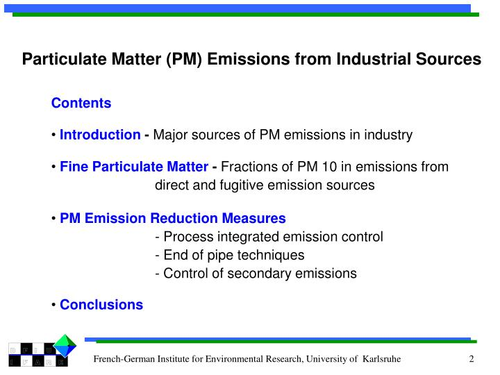 Particulate Matter (PM) Emissions from Industrial Sources