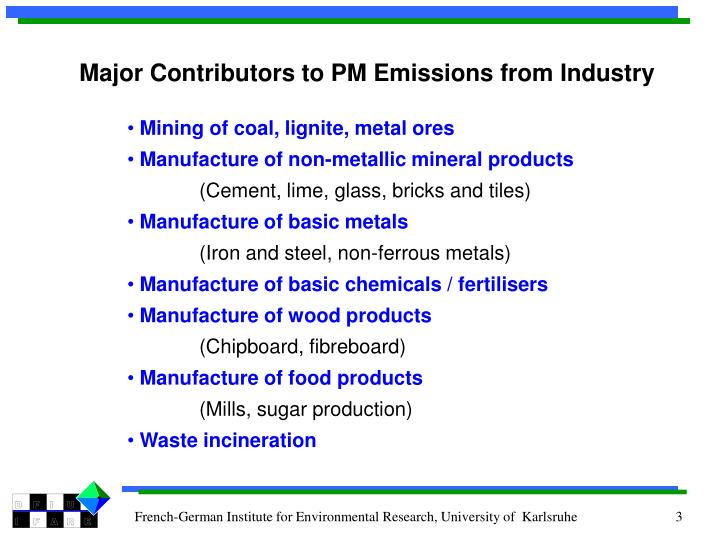 Major Contributors to PM Emissions from Industry