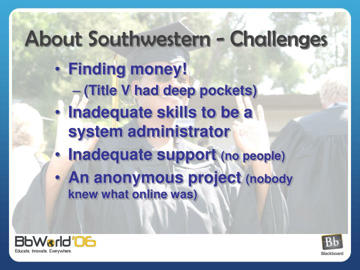 About Southwestern - Challenges
