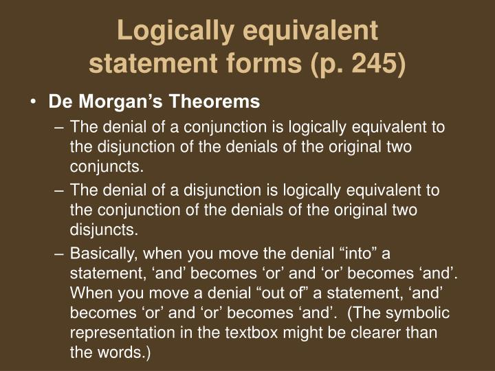 Logically equivalent statement forms p 2451