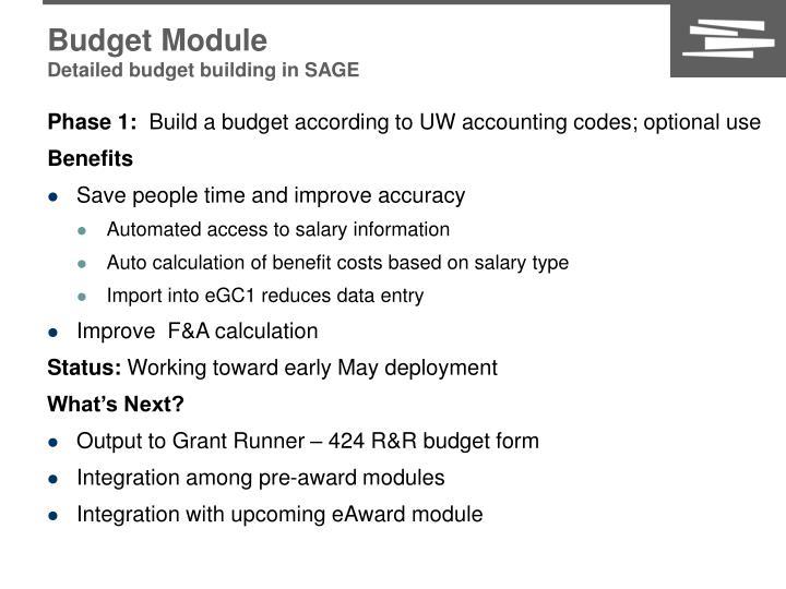 Budget Module