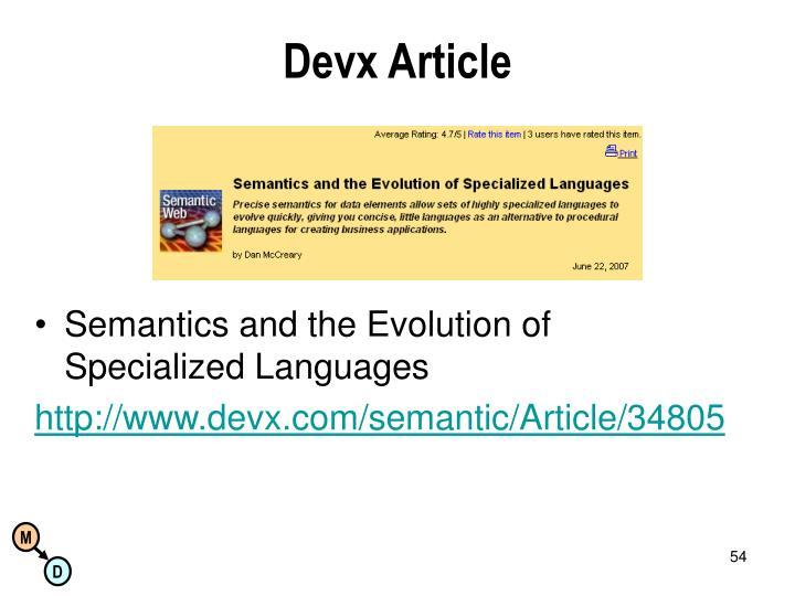 Devx Article
