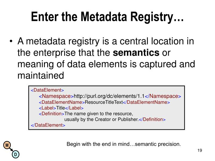 Enter the Metadata Registry…
