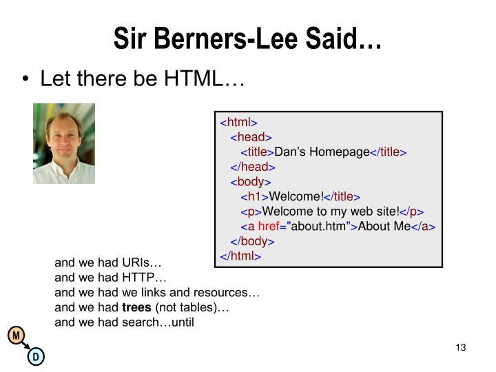 Sir Berners-Lee Said…