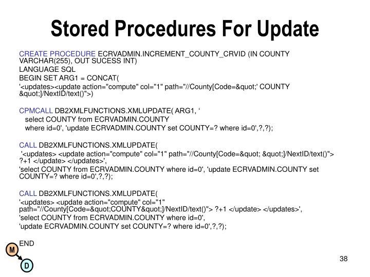 Stored Procedures For Update